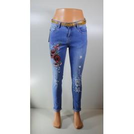 """Moteriški plėšyti džinsai su gėlė ir perliukais """"Fashion Line"""""""