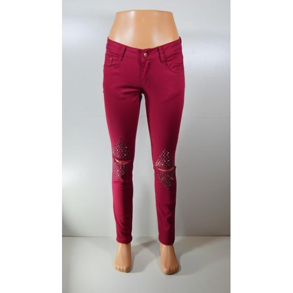 Moteriški raudonos spalvos džinsai
